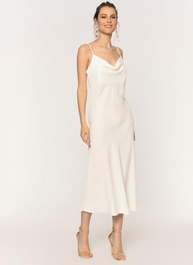 Loves You Crep Saten Degaje Yaka Elbise Beyaz